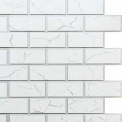Панель облицовочная МАТТОНЕ 3D СИТИ белый кирпич с серыми швами и прожилками 595*595*8 мм