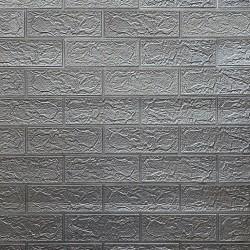 "Панель вспененный ПЭТ ""Кирпич серый металлик"" 700х700 мм"